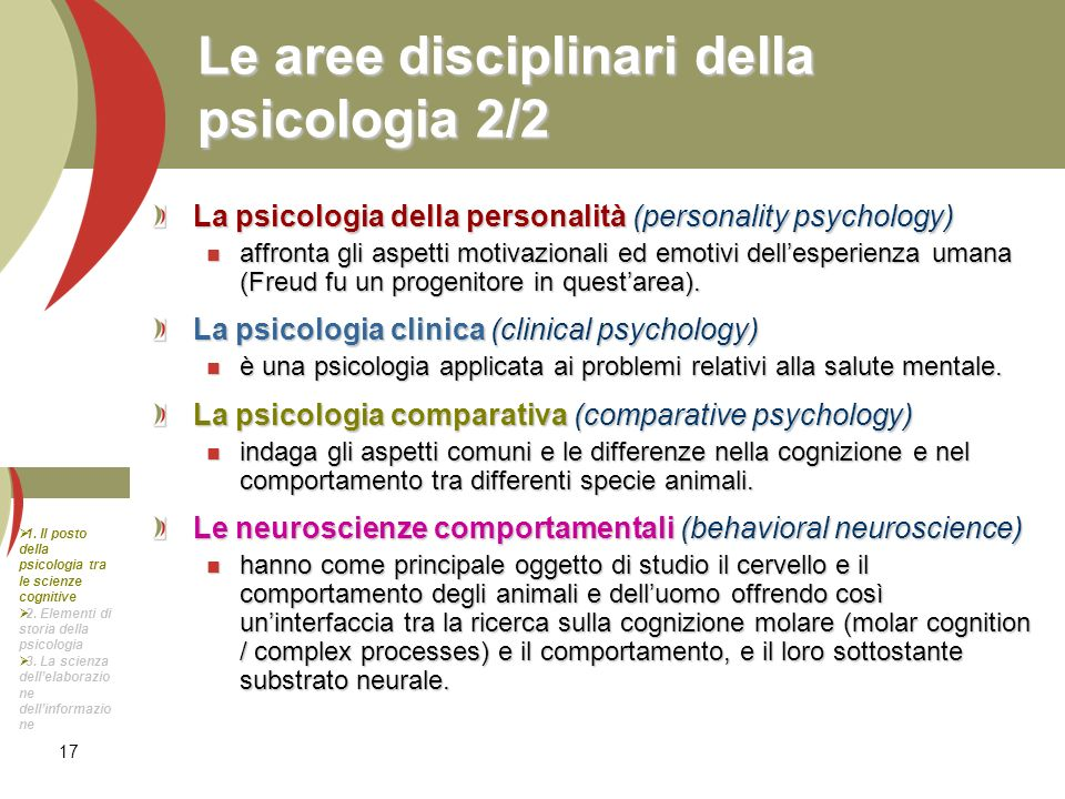 Le aree disciplinari della psicologia 2/2