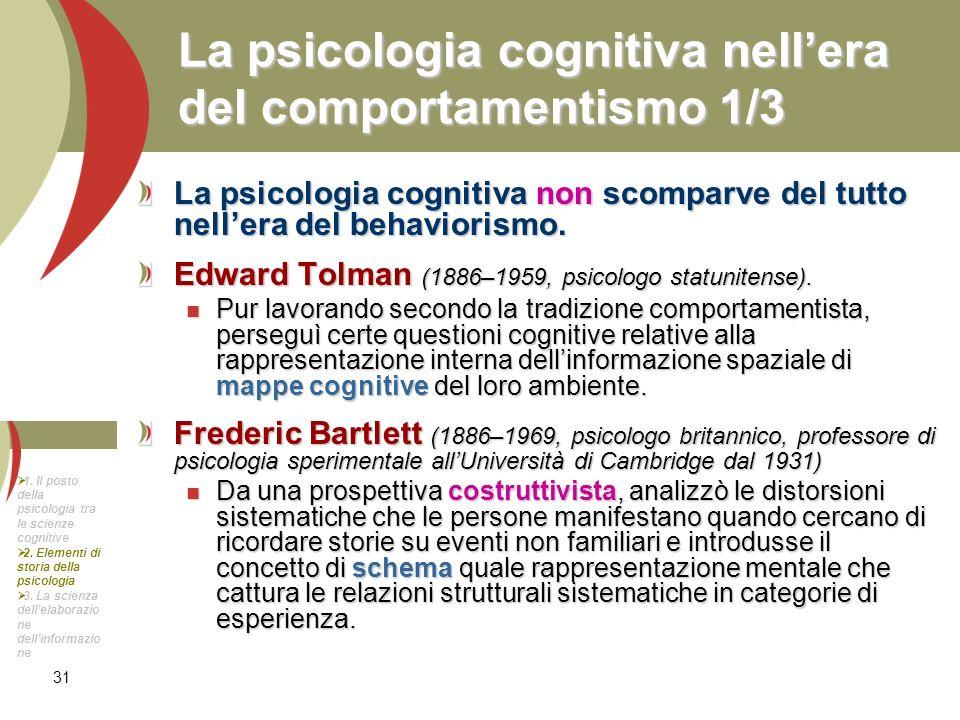 La psicologia cognitiva nell'era del comportamentismo 1/3