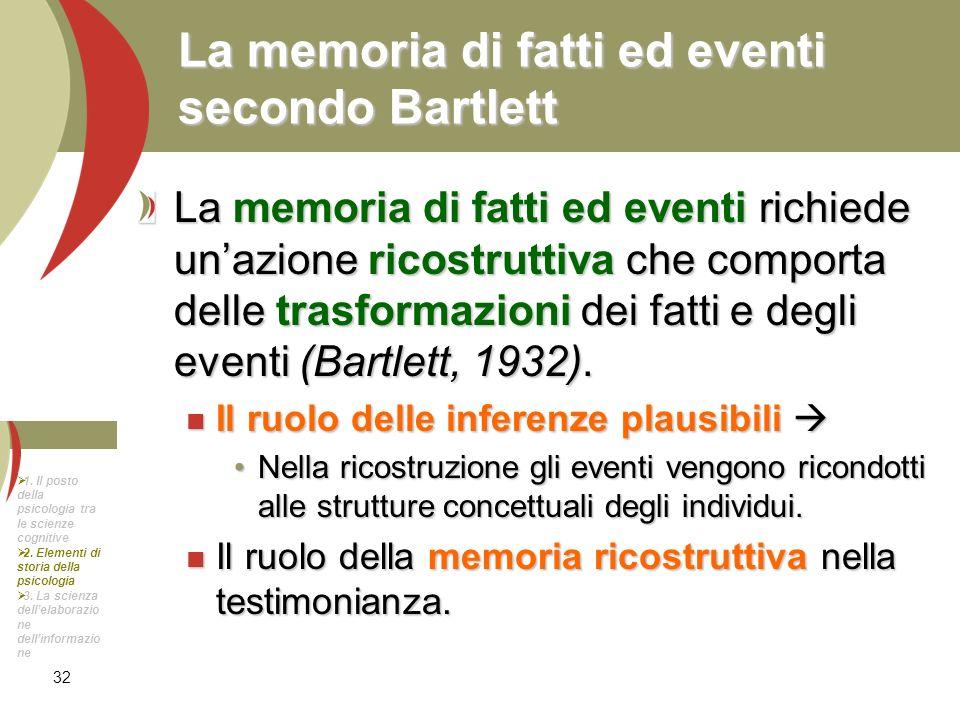 La memoria di fatti ed eventi secondo Bartlett