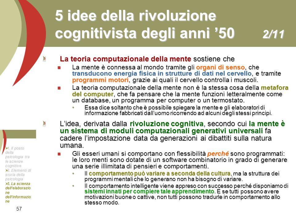 5 idee della rivoluzione cognitivista degli anni '50 2/11