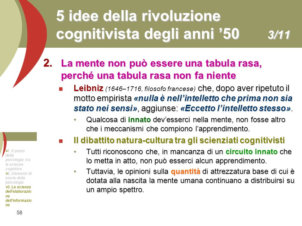 5 idee della rivoluzione cognitivista degli anni '50 3/11