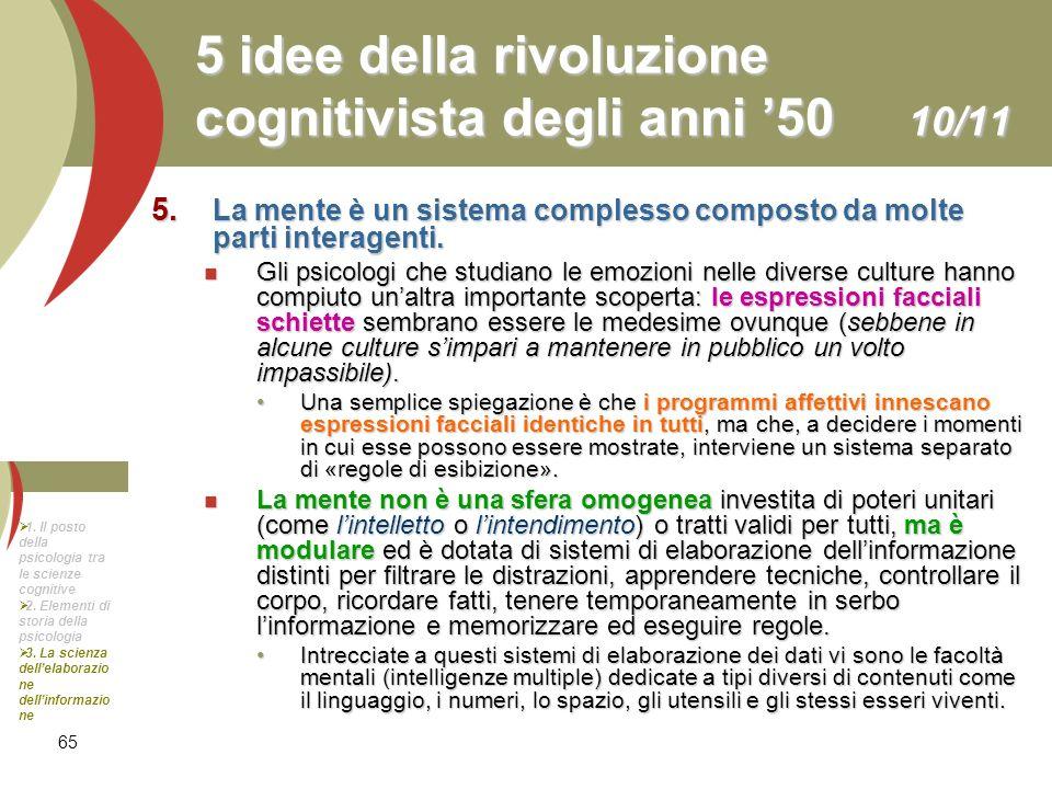 5 idee della rivoluzione cognitivista degli anni '50 10/11