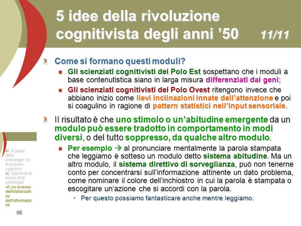 5 idee della rivoluzione cognitivista degli anni '50 11/11