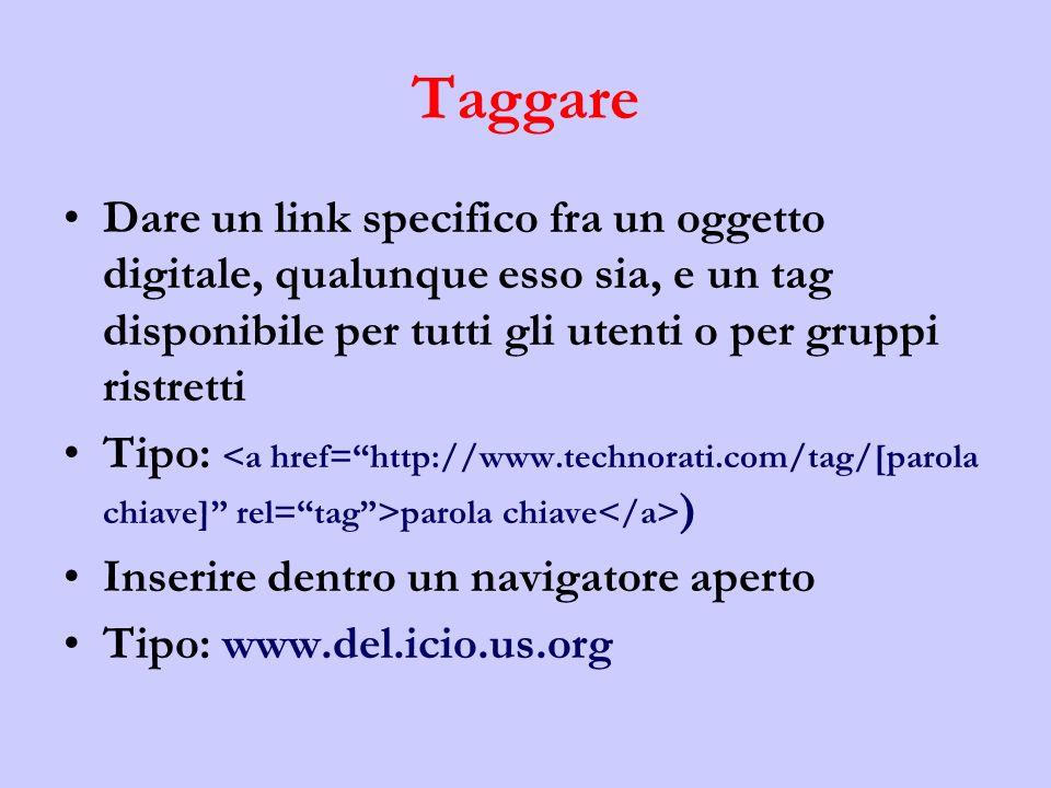Taggare Dare un link specifico fra un oggetto digitale, qualunque esso sia, e un tag disponibile per tutti gli utenti o per gruppi ristretti.