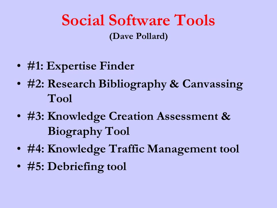 Social Software Tools (Dave Pollard)