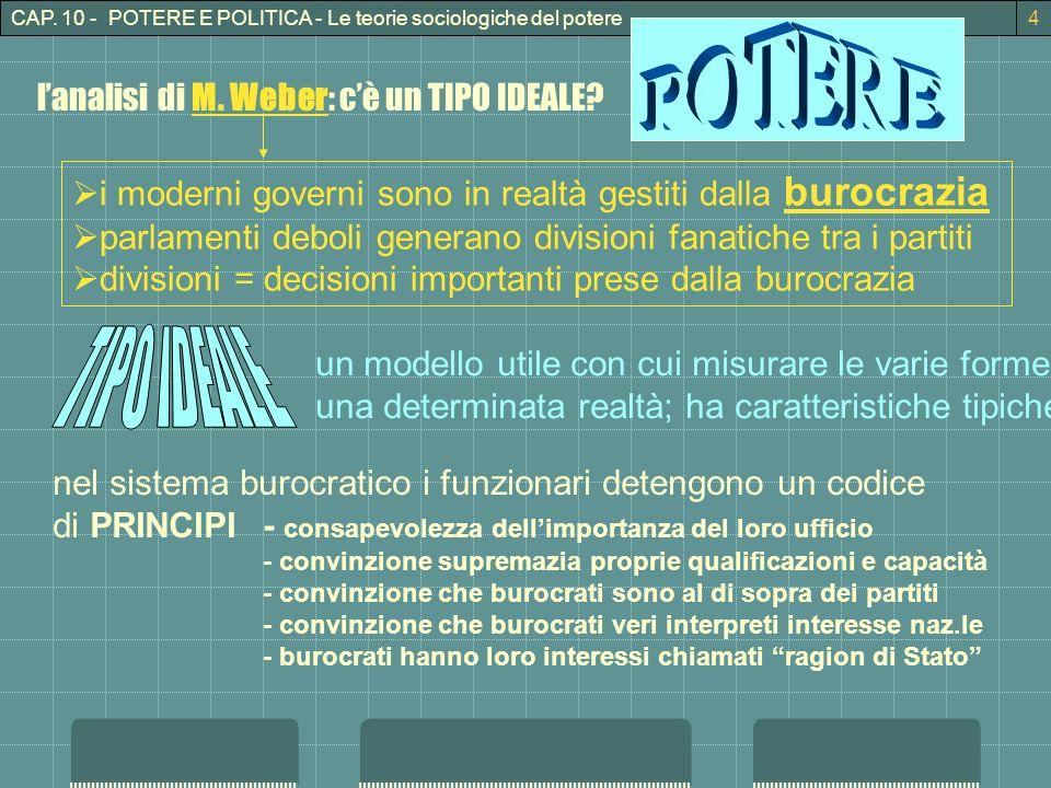 POTERE TIPO IDEALE l'analisi di M. Weber: c'è un TIPO IDEALE