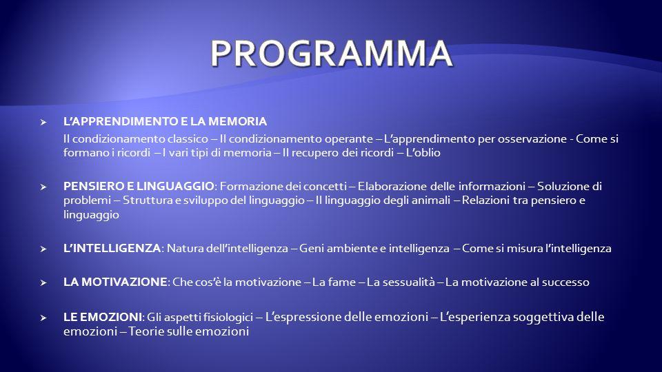 PROGRAMMA L'APPRENDIMENTO E LA MEMORIA