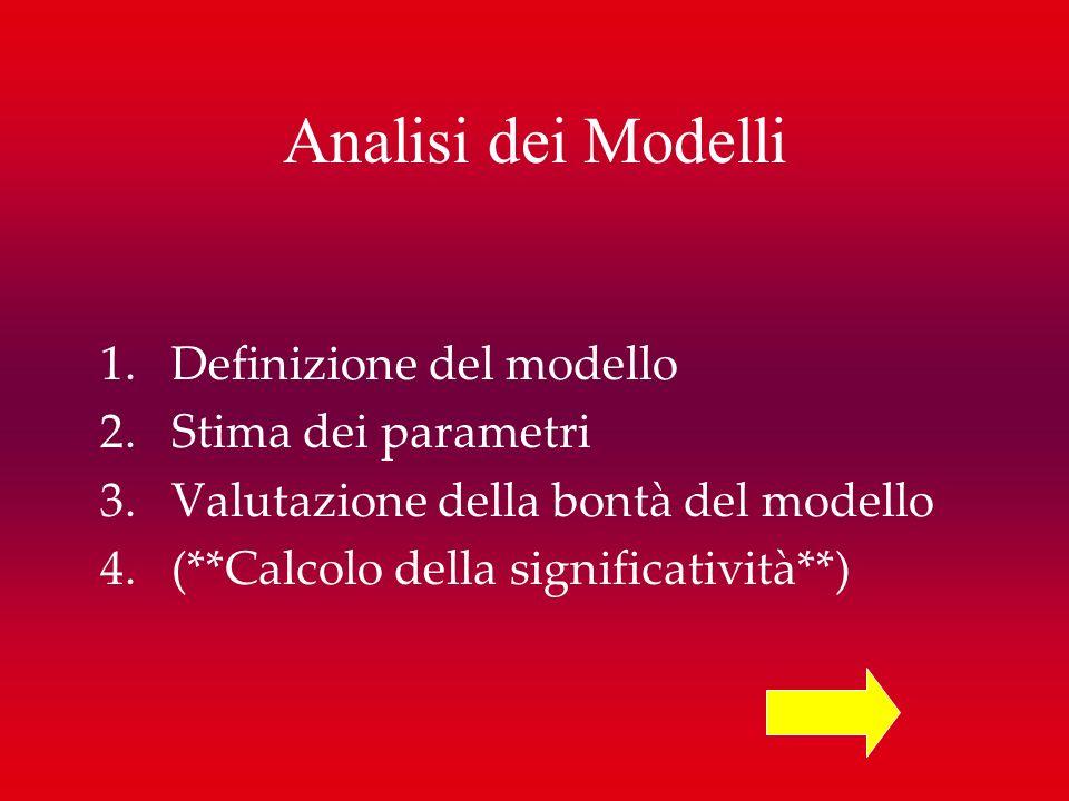 Analisi dei Modelli Definizione del modello Stima dei parametri