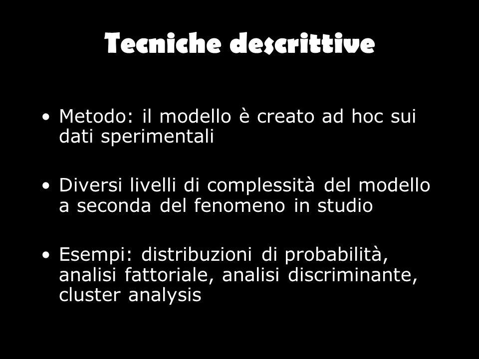 Tecniche descrittive Metodo: il modello è creato ad hoc sui dati sperimentali.