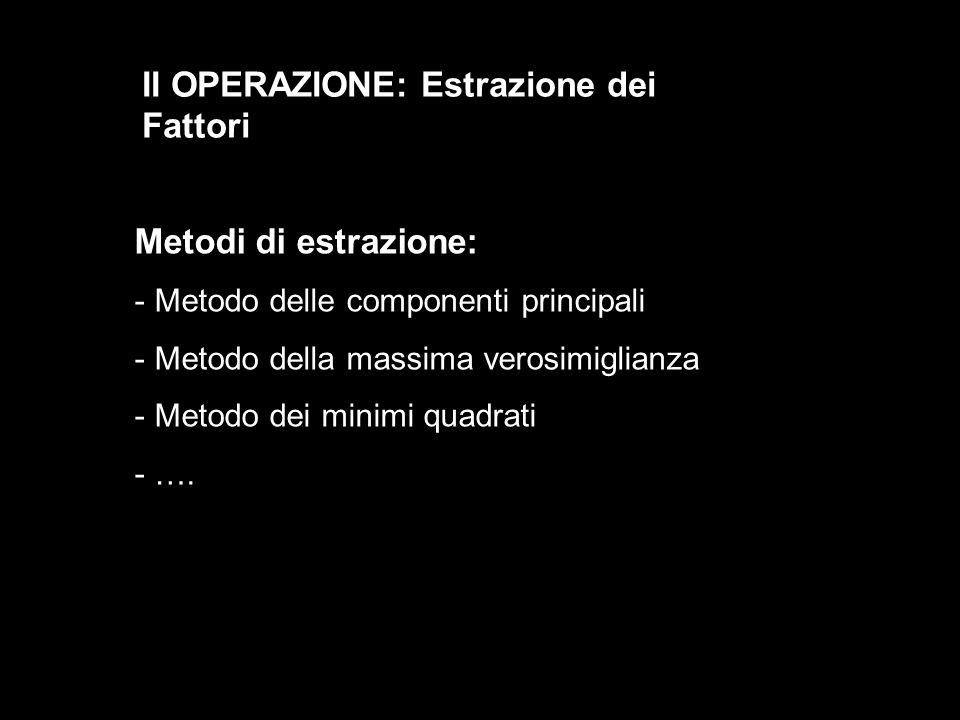 II OPERAZIONE: Estrazione dei Fattori
