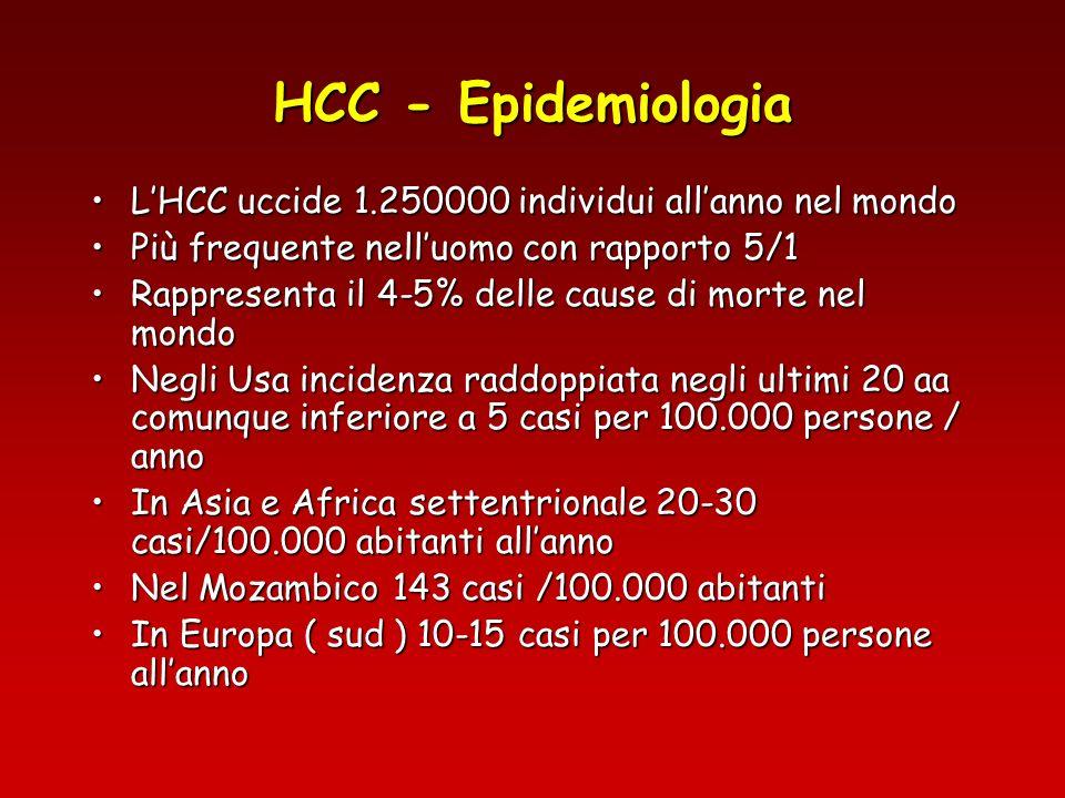 HCC - Epidemiologia L'HCC uccide 1.250000 individui all'anno nel mondo