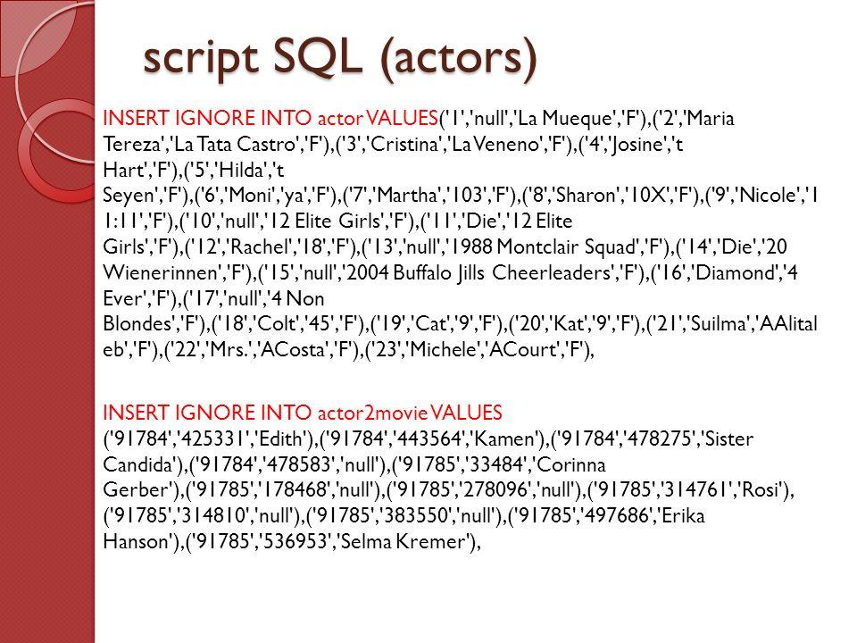 script SQL (actors)