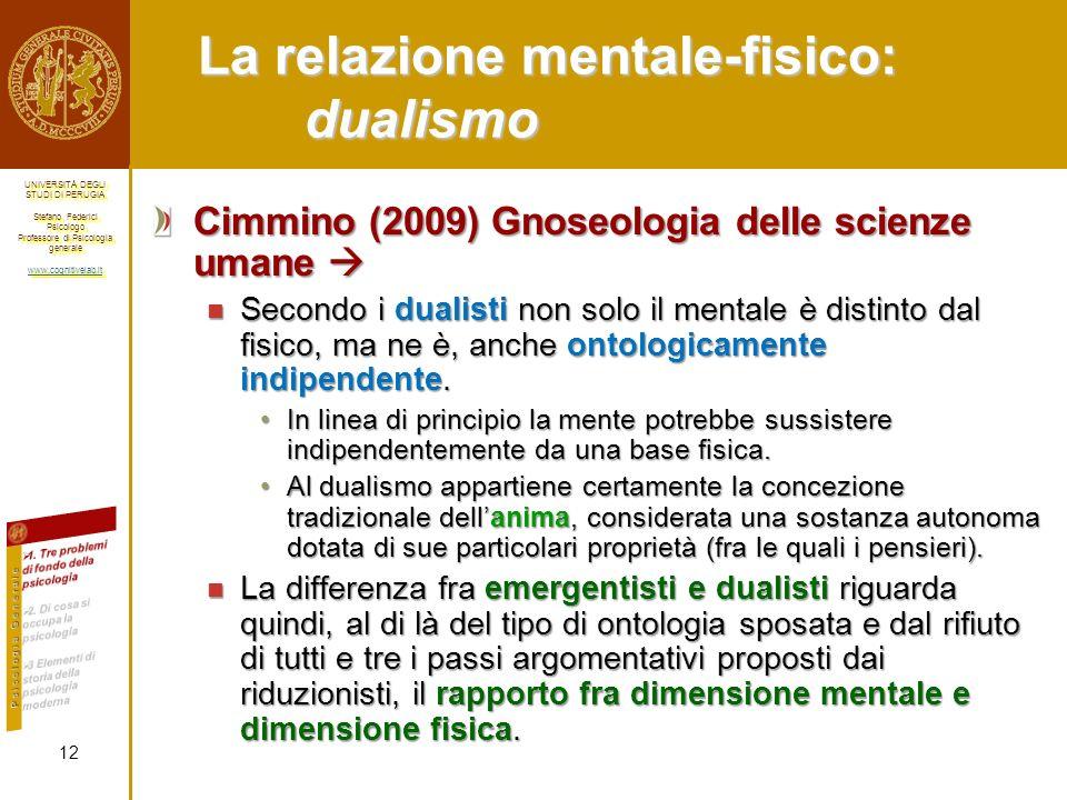 La relazione mentale-fisico: dualismo