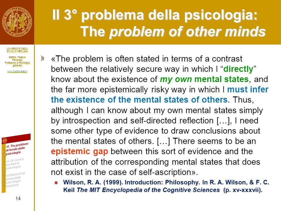Il 3° problema della psicologia: The problem of other minds