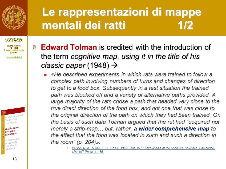 Le rappresentazioni di mappe mentali dei ratti 1/2