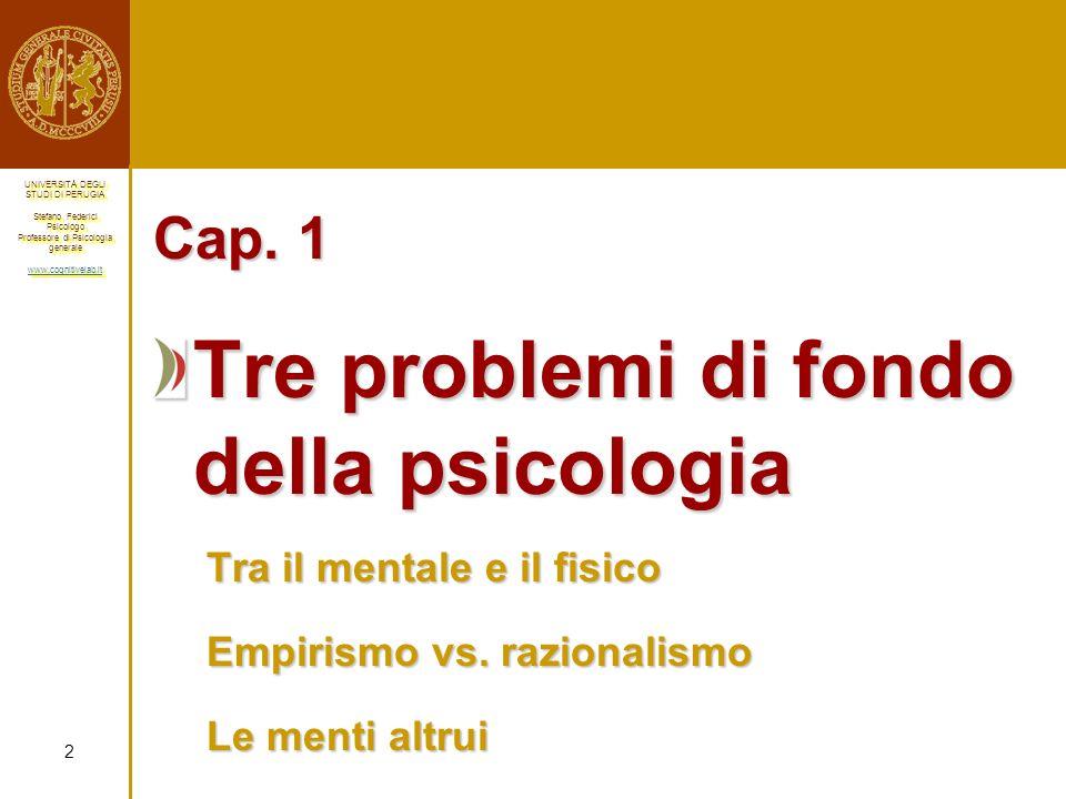Tre problemi di fondo della psicologia