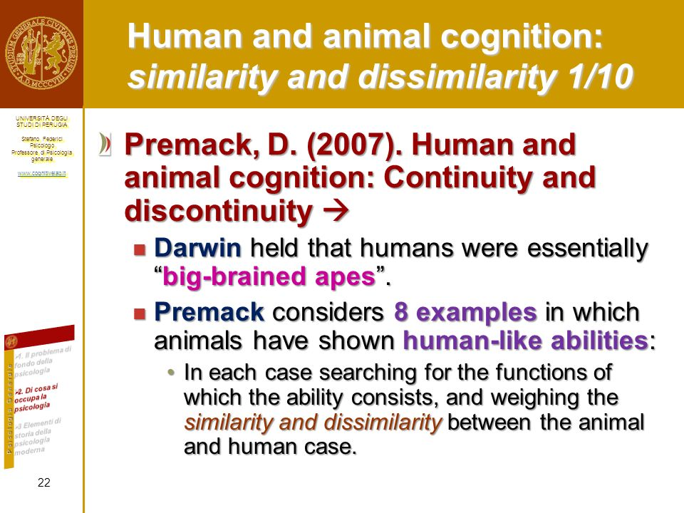 Human and animal cognition: similarity and dissimilarity 1/10