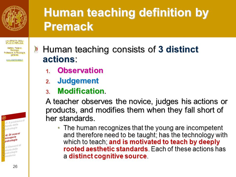 Human teaching definition by Premack