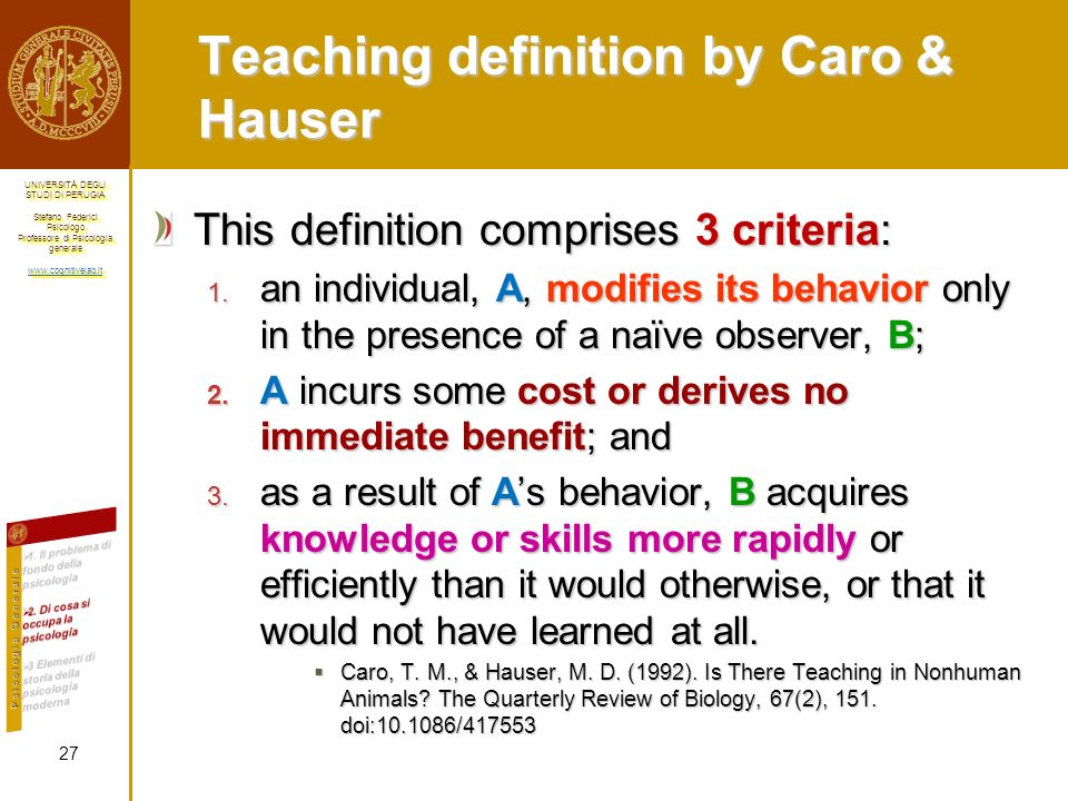 Teaching definition by Caro & Hauser