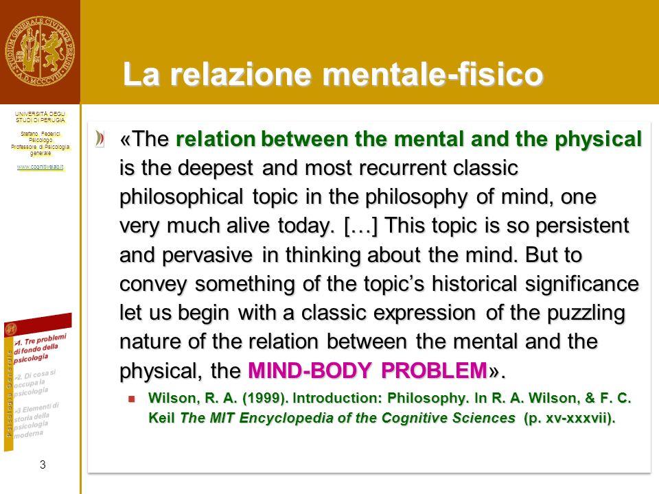 La relazione mentale-fisico