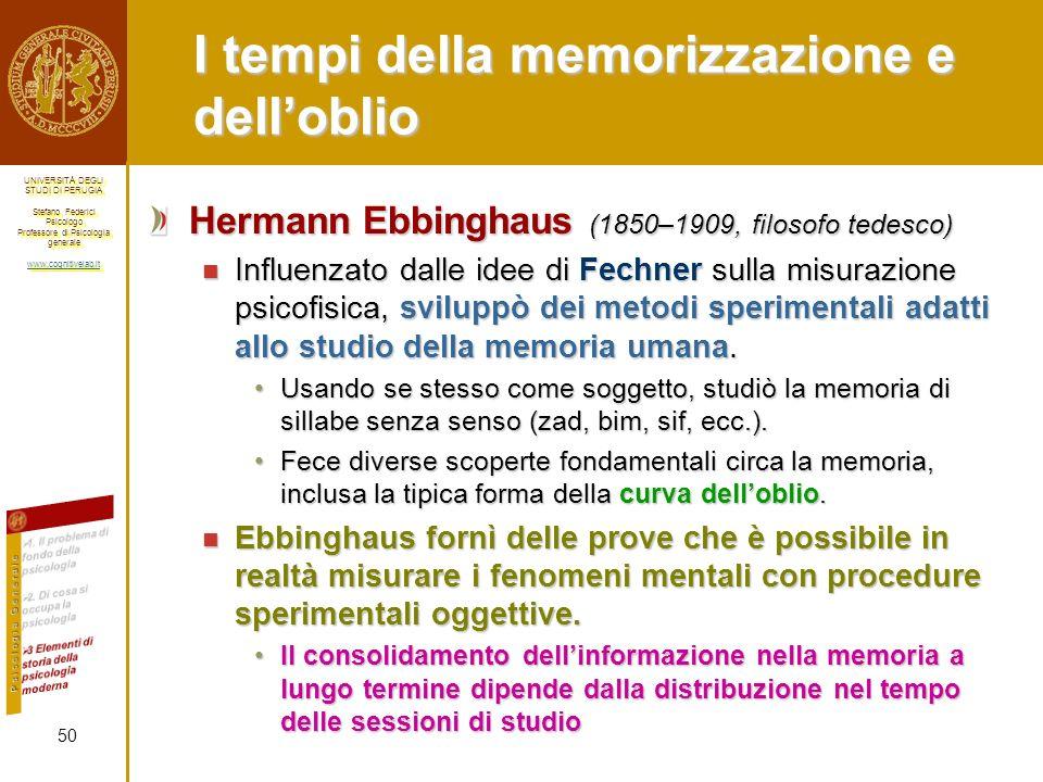 I tempi della memorizzazione e dell'oblio