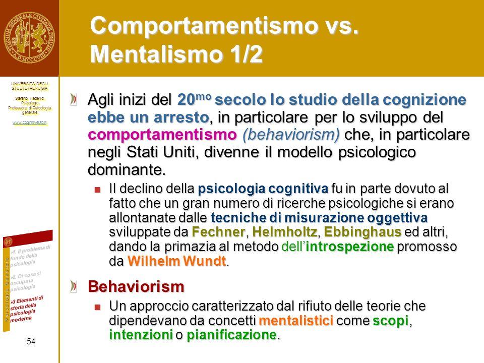 Comportamentismo vs. Mentalismo 1/2