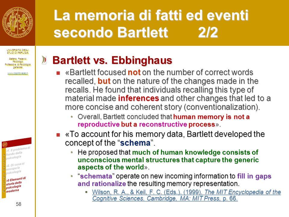 La memoria di fatti ed eventi secondo Bartlett 2/2