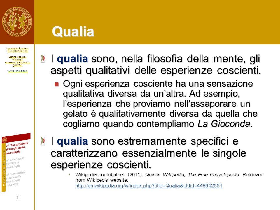 Qualia I qualia sono, nella filosofia della mente, gli aspetti qualitativi delle esperienze coscienti.