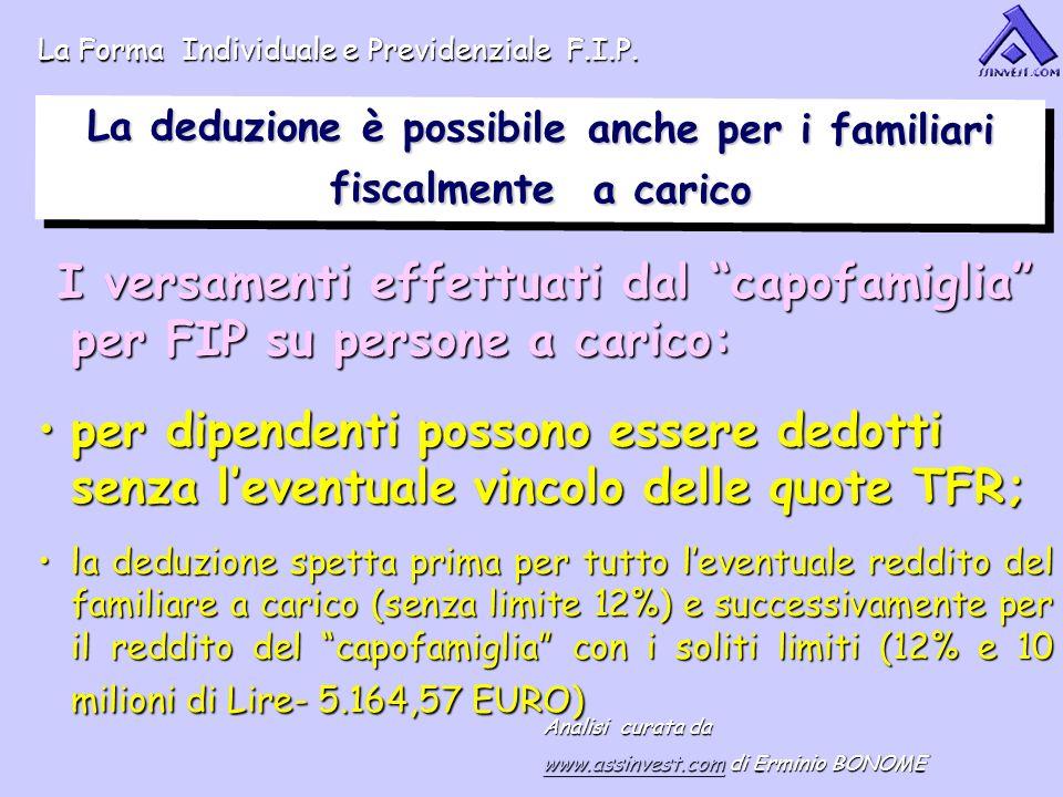 La deduzione è possibile anche per i familiari fiscalmente a carico