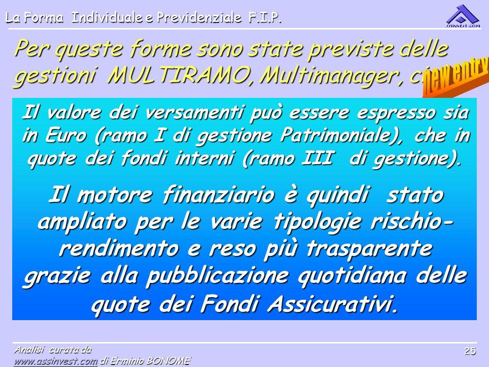 Per queste forme sono state previste delle gestioni MULTIRAMO, Multimanager, cioè: