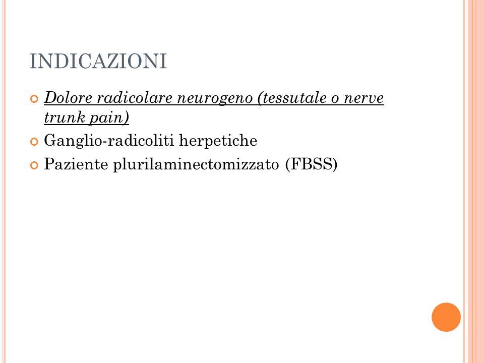 INDICAZIONI Dolore radicolare neurogeno (tessutale o nerve trunk pain)