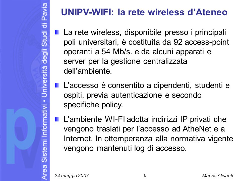 UNIPV-WIFI: la rete wireless d'Ateneo