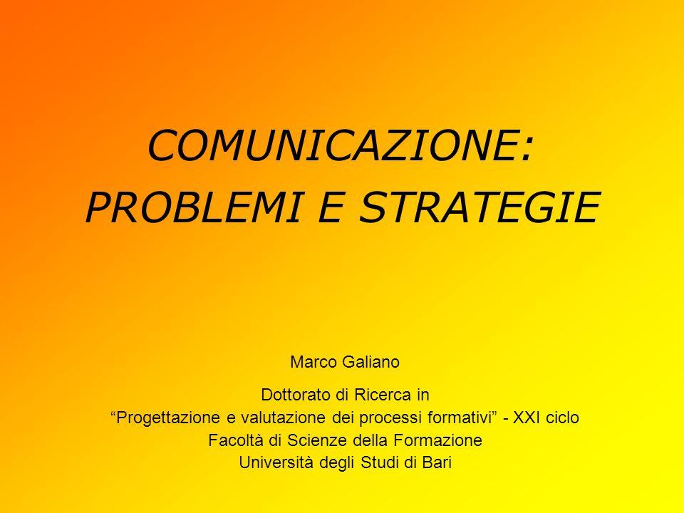 COMUNICAZIONE: PROBLEMI E STRATEGIE Marco Galiano