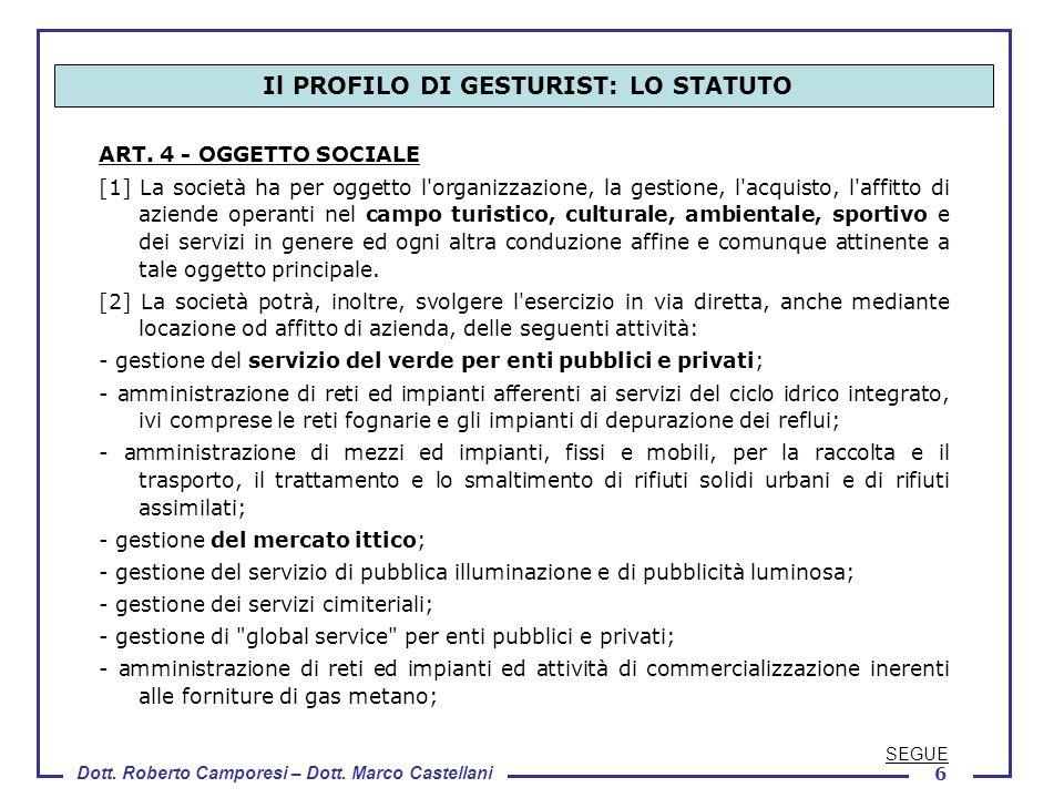 Il PROFILO DI GESTURIST: LO STATUTO