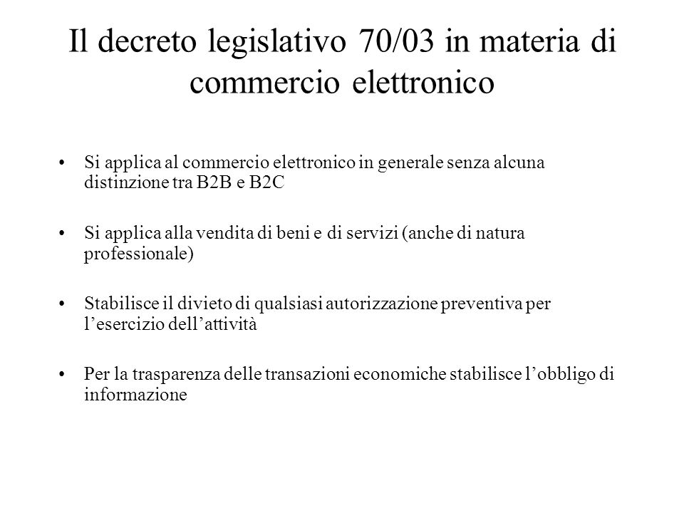 Il decreto legislativo 70/03 in materia di commercio elettronico