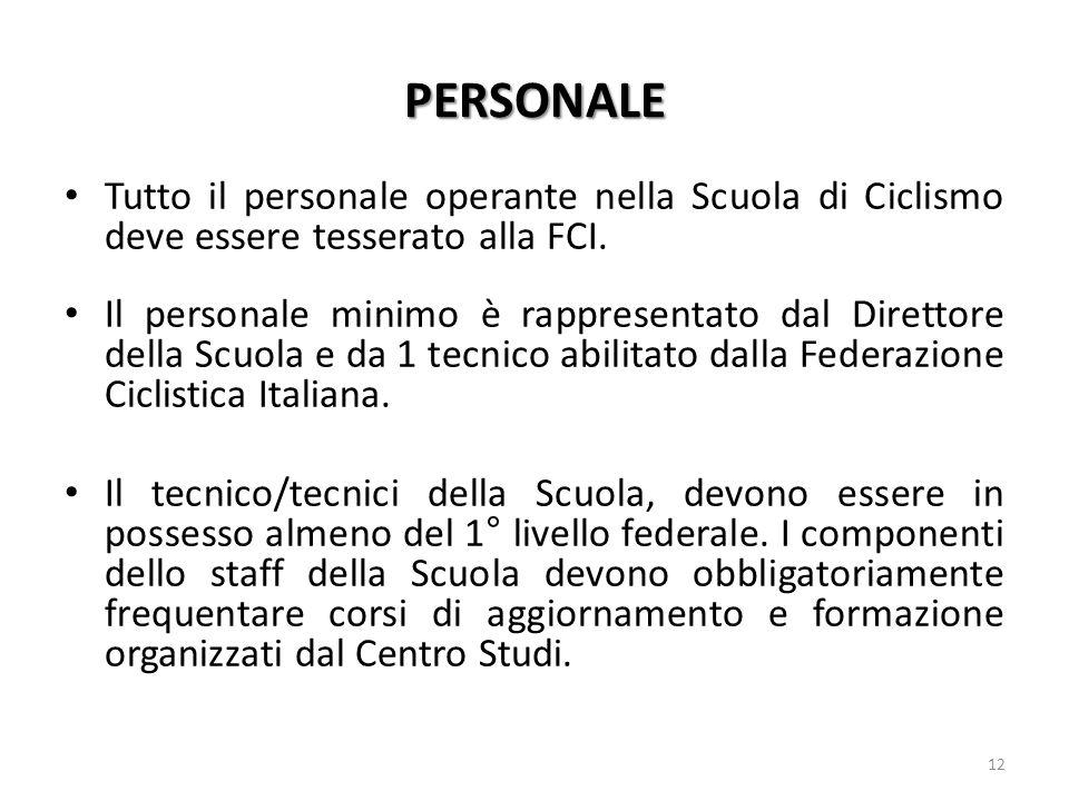 PERSONALE Tutto il personale operante nella Scuola di Ciclismo deve essere tesserato alla FCI.
