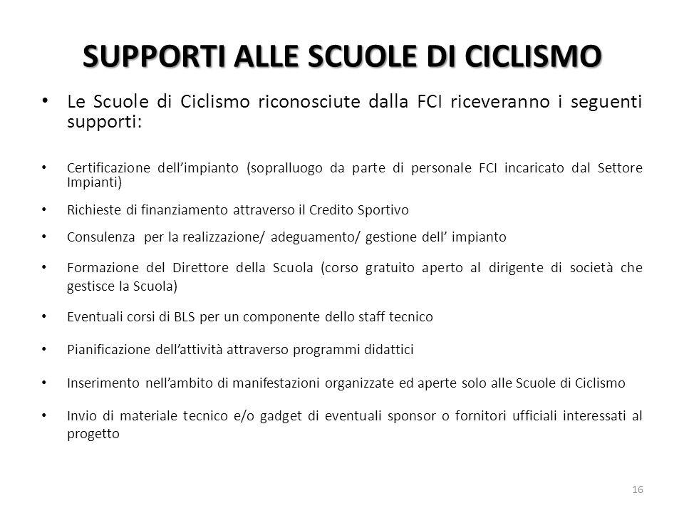 SUPPORTI ALLE SCUOLE DI CICLISMO