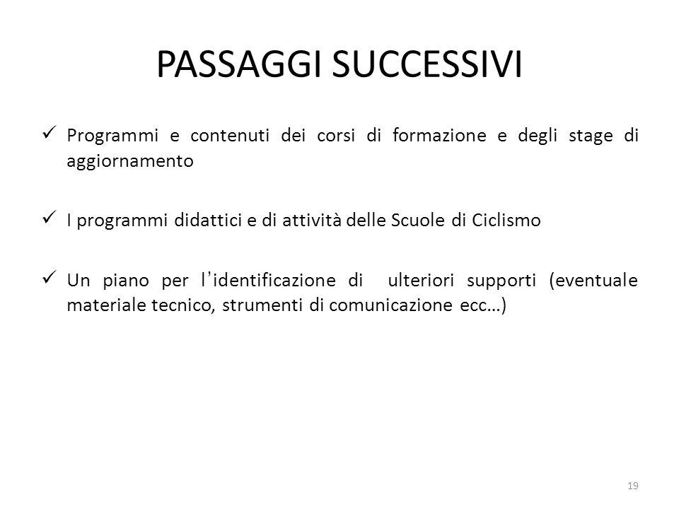 PASSAGGI SUCCESSIVI Programmi e contenuti dei corsi di formazione e degli stage di aggiornamento.