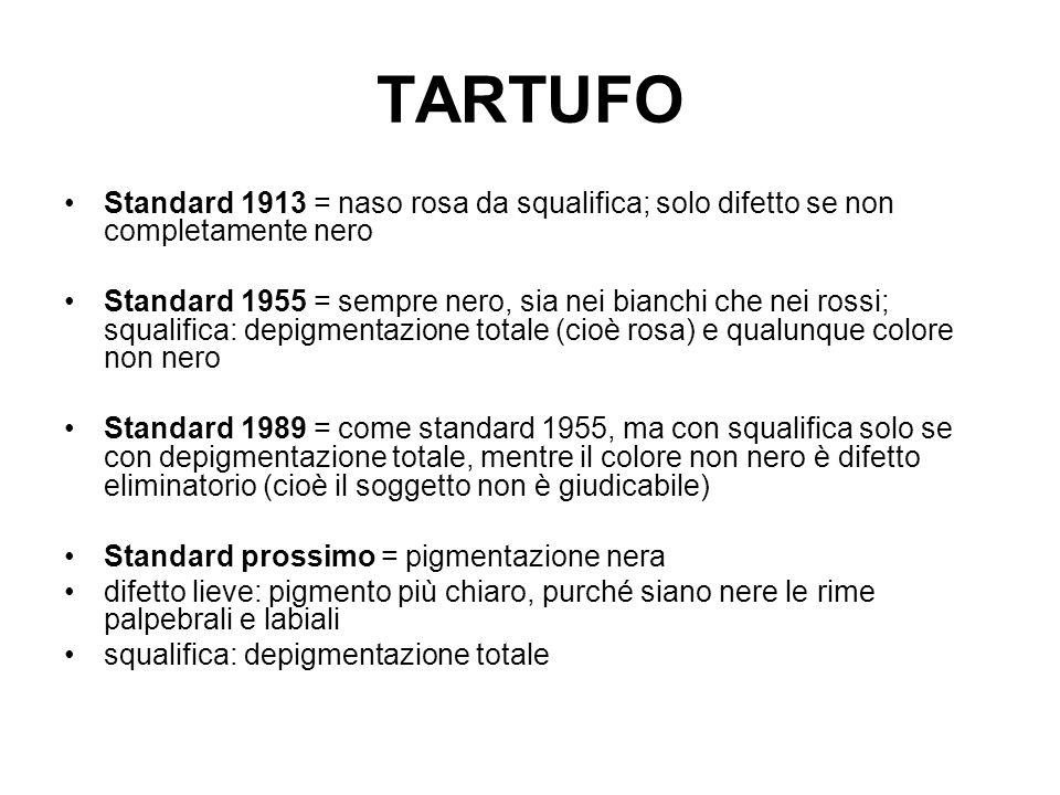 TARTUFO Standard 1913 = naso rosa da squalifica; solo difetto se non completamente nero.