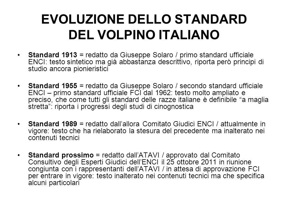 EVOLUZIONE DELLO STANDARD DEL VOLPINO ITALIANO