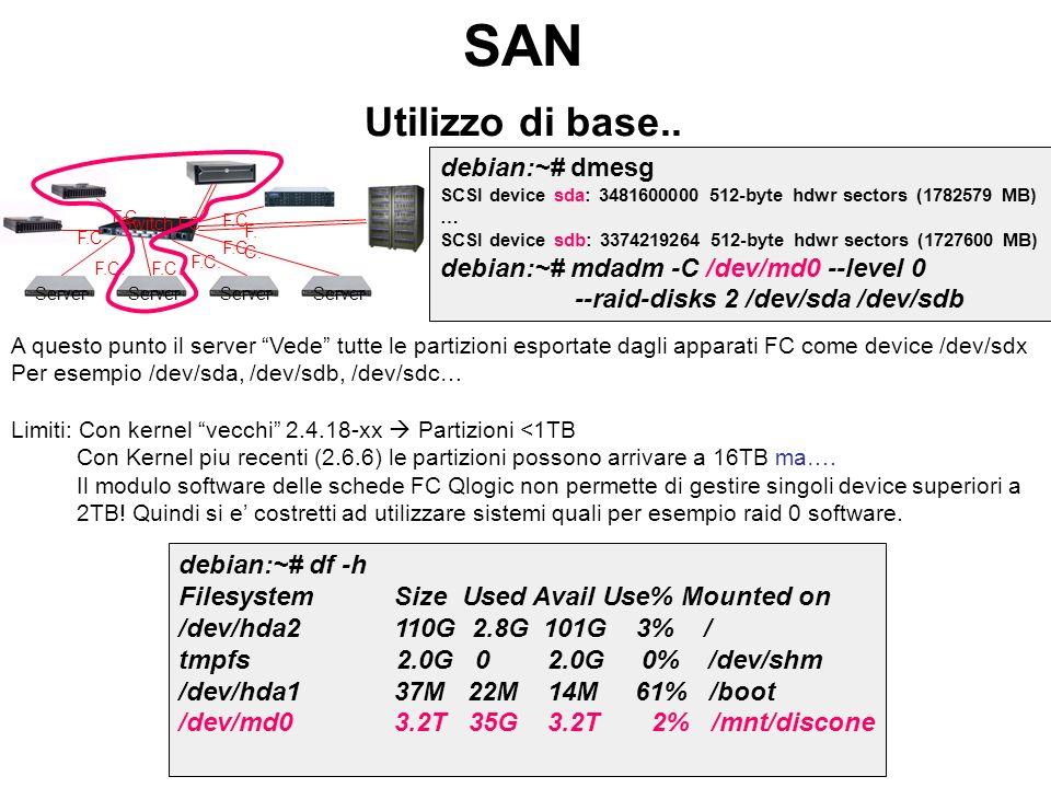 SAN Utilizzo di base.. debian:~# dmesg