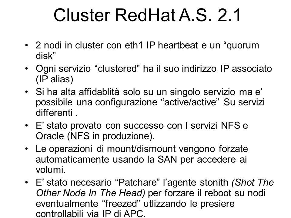 Cluster RedHat A.S. 2.1 2 nodi in cluster con eth1 IP heartbeat e un quorum disk