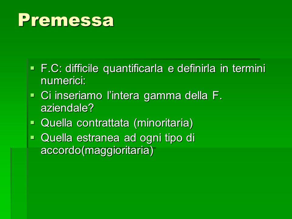Premessa F.C: difficile quantificarla e definirla in termini numerici: