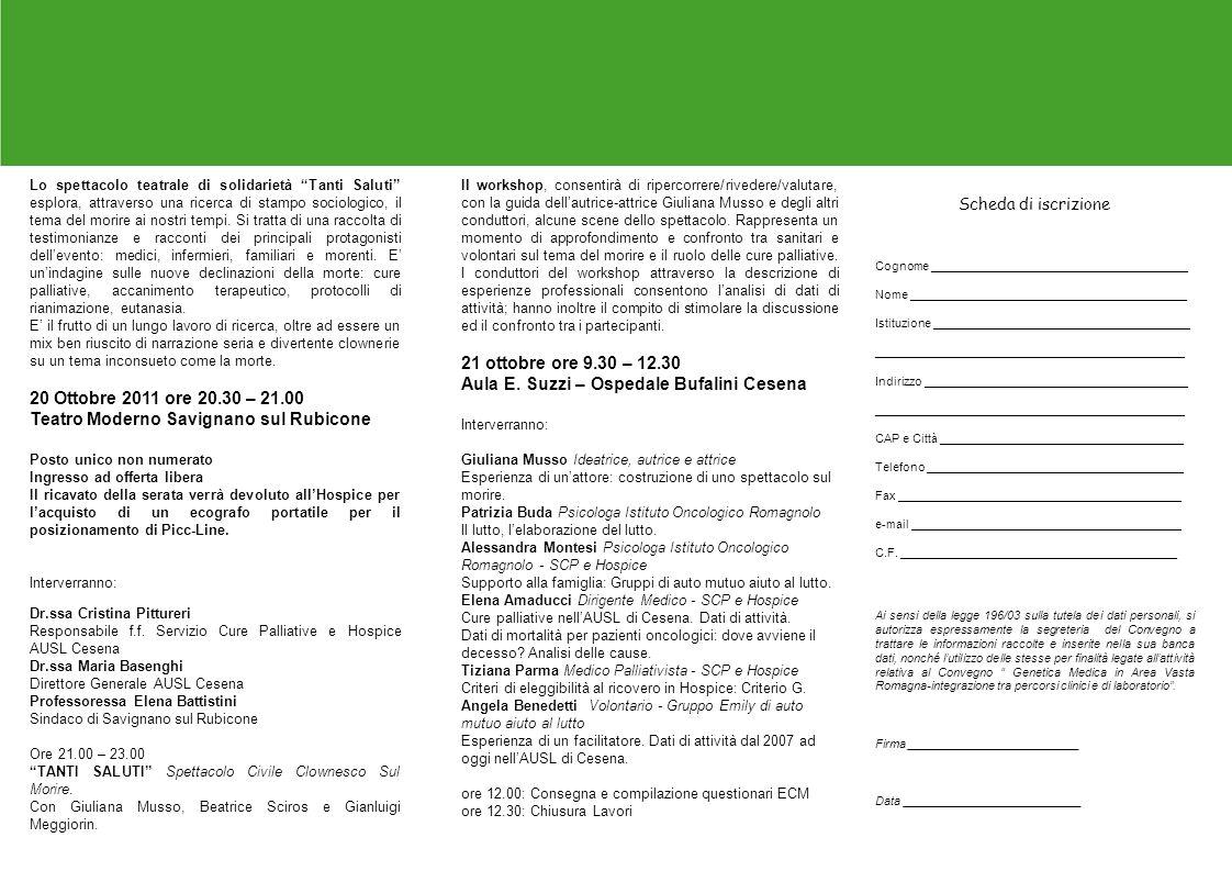 Teatro Moderno Savignano sul Rubicone 21 ottobre ore 9.30 – 12.30