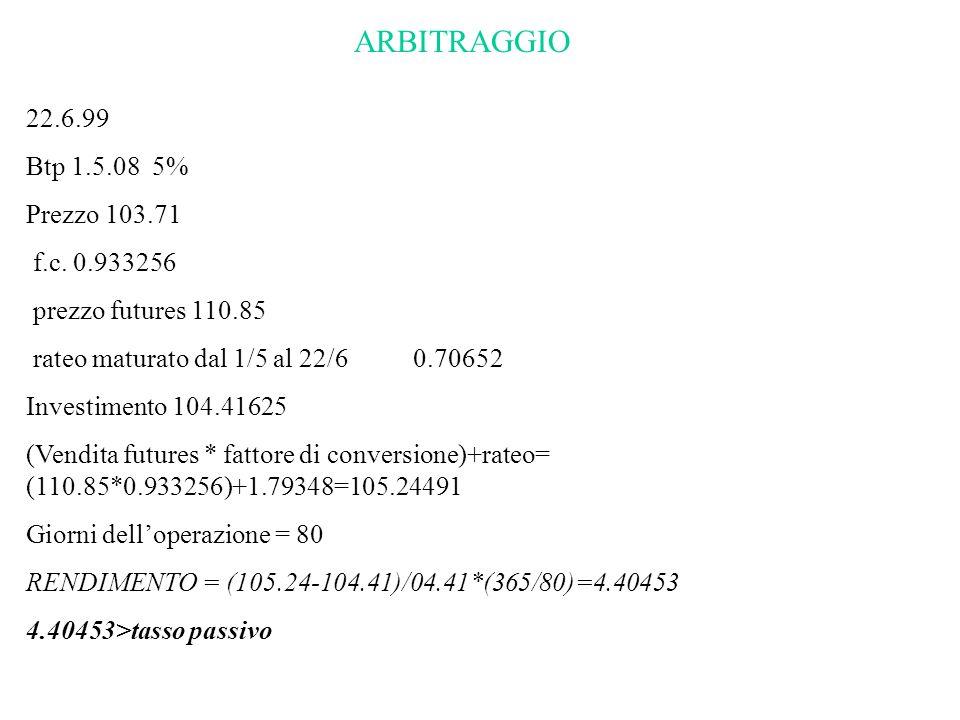 ARBITRAGGIO 22.6.99 Btp 1.5.08 5% Prezzo 103.71 f.c. 0.933256