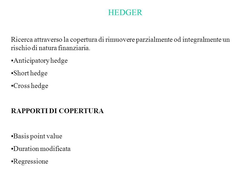 HEDGER Ricerca attraverso la copertura di rimuovere parzialmente od integralmente un rischio di natura finanziaria.