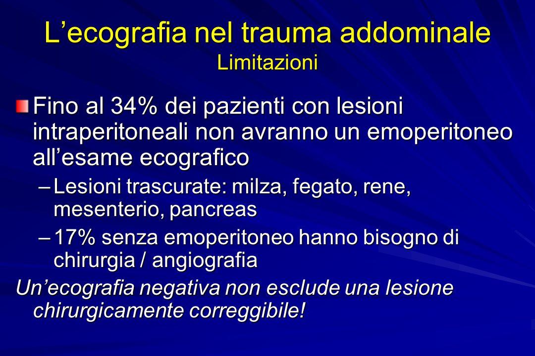 L'ecografia nel trauma addominale Limitazioni