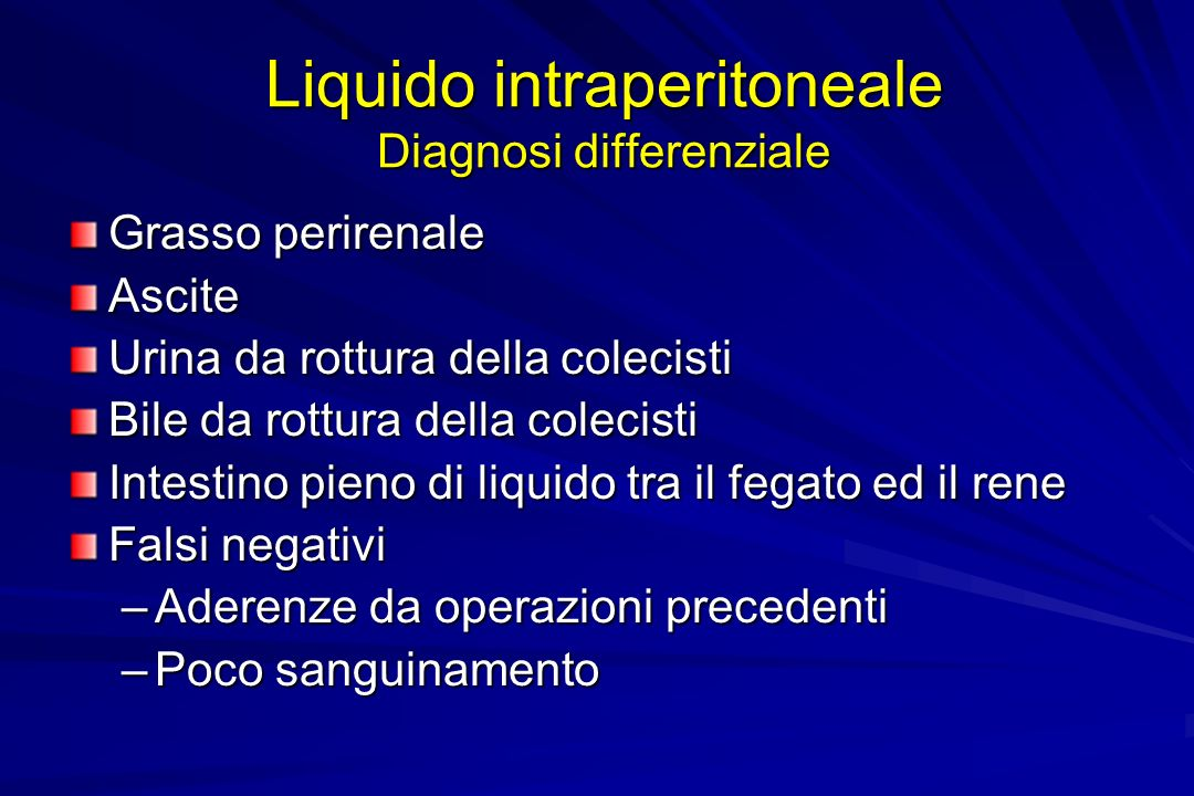 Liquido intraperitoneale Diagnosi differenziale