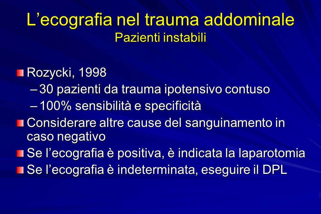 L'ecografia nel trauma addominale Pazienti instabili