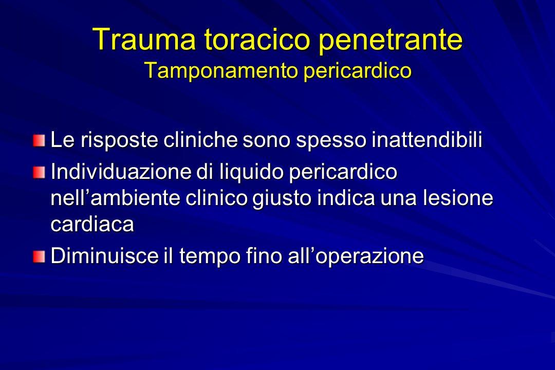 Trauma toracico penetrante Tamponamento pericardico